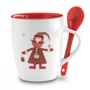 Karácsonyi mintás bögre kanállal, piros