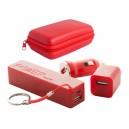 """""""Rebex"""" USB töltő és power bank szett , piros"""
