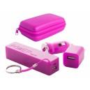 """""""Rebex"""" USB töltő és power bank szett , pink"""