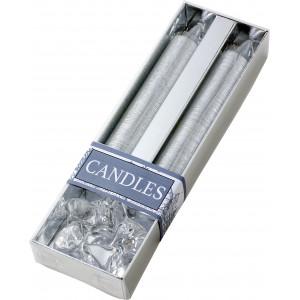 Fényes gyertyakészlet tartóval, ezüst