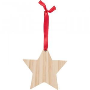 Csillag alakú karácsonyfadísz, fa, barna