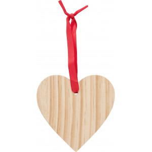 Szív alakú karácsonyfadísz, fa, barna