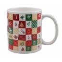 Mosaix karácsonyi bögre, fehér